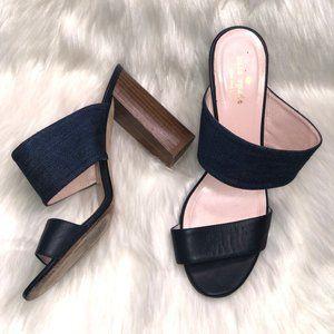 Kate Spade Imma Denim Leather Mules US Size 9.5 B